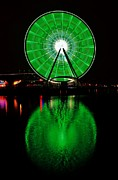 St. Patrick Posters - Seattle Great Wheel In Motion Poster by Benjamin Yeager