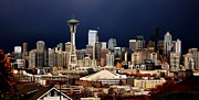 Seattle Skyline Photos - Seattle Hail by Benjamin Yeager