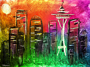 Seattle Mixed Media Prints - Seattle Land of Color Print by Melisa Meyers