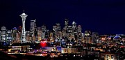 Seattle Skyline Framed Prints - Seattle Lights Framed Print by Benjamin Yeager