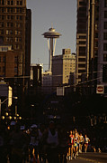 Marathons Prints - Seattle Marathon with Space Needle Print by Jim Corwin