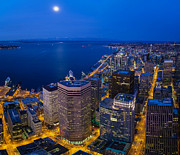 Featured Art - Seattle Moonset Night by Mike Reid