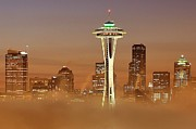 Seattle Skyline Posters - Seattle Morning Mist Poster by Benjamin Yeager