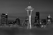 Seattle Morning Mist Black And White Print by Benjamin Yeager