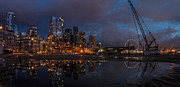 Seattle Waterfront Framed Prints - Seattle Night Skyline Framed Print by Mike Reid