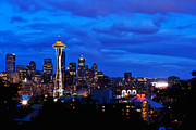 Space Needle Framed Prints - Seattle Night Skyline Framed Print by Tanya Harrison