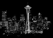 Seattle Skyline Art - Seattle Nightscape by Benjamin Yeager