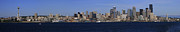 Seattle Waterfront Posters - Seattle Panoramic Poster by Adam Romanowicz
