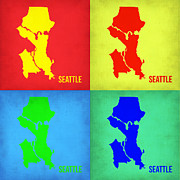 World Map Digital Art Metal Prints - Seattle Pop Art Map 1 Metal Print by Irina  March
