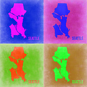World Map Digital Art Metal Prints - Seattle Pop Art Map 2 Metal Print by Irina  March
