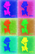 Seattle Digital Art Prints - Seattle Pop Art Map 3 Print by Irina  March