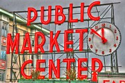 Tap On Photo Prints - Seattle Public Market Center Clock Sign Print by Marcia Fontes Photography