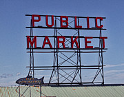 Seattle Greeting Cards Posters - Seattle Public Market Poster by Ron Roberts