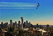 Blue Angels Framed Prints - Seattle Seafair Framed Print by Benjamin Yeager