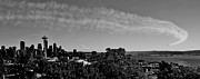 Blue Airplane Photos - Seattle Seafair Panorama Black and White by Benjamin Yeager