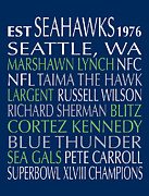 Subway Art Framed Prints Digital Art - Seattle Seahawks by Jaime Friedman