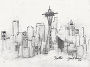 Seattle Mixed Media Prints - Seattle Sketch Print by Janel Bragg