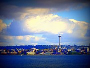 Office Space Digital Art Prints - Seattle Skyline 3 Print by Vicki Maheu