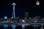 Sea Moon Full Moon Prints - Seattle Skyline At Night with Full Moon Print by Valerie Garner