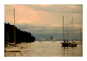 Puget Sound Framed Prints Posters - Seattle Skyline from Bainbridge Poster by Jack Pumphrey