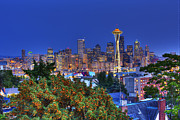 Seattle Skyline Art - Seattle Skyline in the Fall by Shawn Everhart