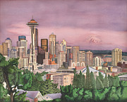 Seattle Skyline Paintings - Seattle Skyline by Josh Marks