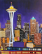 Seattle Skyline Paintings - Seattle Skyline by Kevin Hughes