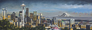Seattle Skyline Paintings - Seattle Skyline by Nick Buchanan