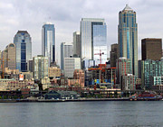 Seattle Waterfront Framed Prints Prints - Seattle Skyline Print by Ron Roberts