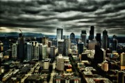 Highrise Mixed Media Prints - Seattle Skyline Print by Todd and candice Dailey