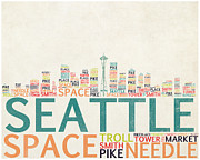 Skylines Digital Art Prints - Seattle Skyline Typograpy Print by World Art Prints And Designs