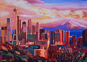 Seattle Skyline Paintings - Seattle Skyline with Space Needle and Mt Rainier by M Bleichner