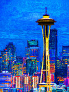 Skylines Digital Art Prints - Seattle Space Needle 20130115v1 Print by Wingsdomain Art and Photography