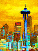 Skylines Digital Art Prints - Seattle Space Needle 20130115v2 Print by Wingsdomain Art and Photography