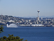 Fireboat Photographs Posters - Seattle Space Needle and Fire Boat Poster by Ron Roberts