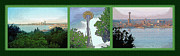 Seattle Mixed Media Prints - Seattle Space Needle Triptych Print by Steve Ohlsen