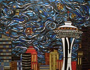 Seattle Mixed Media Prints - Seattle Starry Night Print by Mary Ellen Bowers