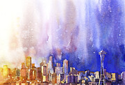 Wet Into Wet Watercolor Posters - Seattle Sunrise Poster by Ryan Fox