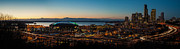 Puget Sound Framed Prints - Seattle Sunset Framed Print by Mike Reid