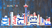 Skylines Mixed Media Framed Prints - Seattle Washington Space Needle Skyline License Plate Art by Design Turnpike Framed Print by Design Turnpike