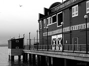 Chanda Henne Posters - Seattle Waterfront in Black and White Poster by Chanda Henne