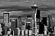 Seattle Skyline Posters - Seattle White And Black Poster by Benjamin Yeager