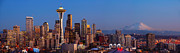 Space Needle Framed Prints - Seattle Winter Evening Panorama Framed Print by Inge Johnsson