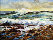 Maine Shore Painting Originals - Seawall by Lee Piper