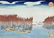 Woodcut Paintings - Seaweed Gatherers at Omari by Utagawa Kuniyoshi