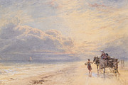 Horse And Cart Paintings - Seaweed Gatherers by Myles Birket Foster