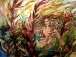 Linda Olsen Metal Prints - Seaweed Mermaid Metal Print by Linda Olsen