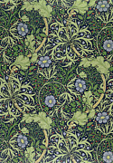Blue Flowers Tapestries - Textiles Metal Prints - Seaweed wallpaper design Metal Print by William Morris