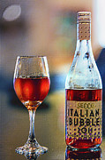 Sparkling Wine Digital Art Prints - Secco Italian Bubbles Print by Bill Tiepelman