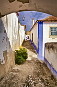 Blue Cobblestone Prints - Secluded Cobblestone Street in the Medieval Village of Obidos Print by David Letts